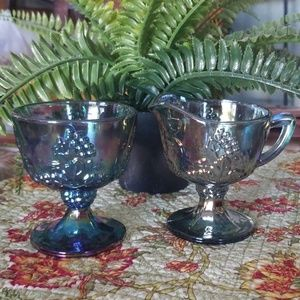 Vtg Carnival Glass Sugar & Creamer Set